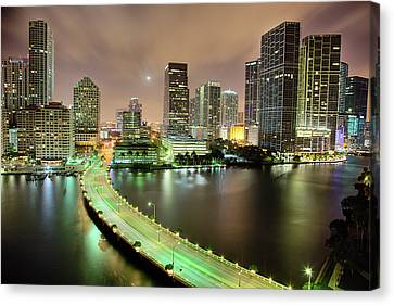 Street Lights Canvas Print - Miami Skyline At Night by Steve Whiston - Fallen Log Photography