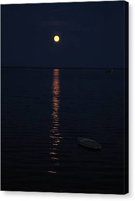 Moon At Province Town Canvas Print by Oscar Rodriguez