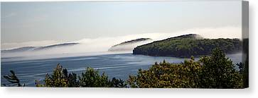 Canvas Print featuring the photograph Morning Mist In Acadia by Greg DeBeck