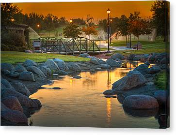 Morning Sunrise In The Park Canvas Print