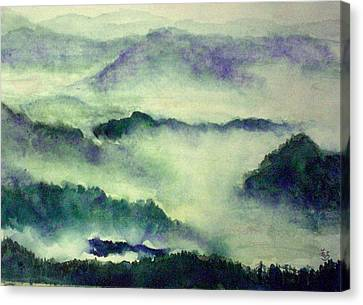 Canvas Print featuring the painting Mountain Oriental Style by Yoshiko Mishina