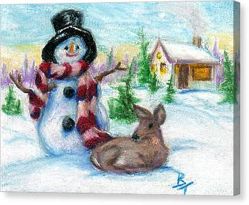 Mr. Snowman Aceo Canvas Print by Brenda Thour