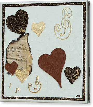 Musical Love - Tan Hearts Canvas Print by Alison Quine
