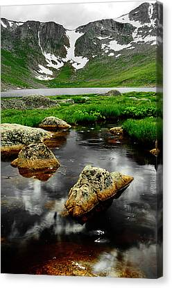 Mountain Reflection Lake Summit Mirror Canvas Print - Nearer To Heaven by The Forests Edge Photography - Diane Sandoval