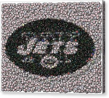 New York Jets Bottle Cap Mosaic Canvas Print