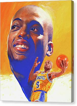 Canvas Print featuring the painting Nick Van Exel by Cliff Spohn