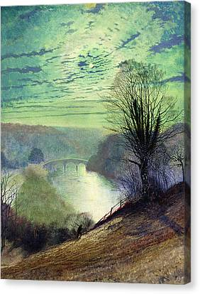 On The Tees Near Barnard Castle Canvas Print by John Atkinson Grimshaw