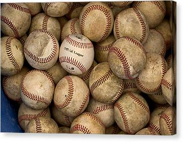 One Clean Baseball Sitting In A Pile Canvas Print by Phil Schermeister