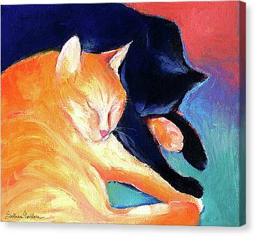 Orange And Black Tabby Cats Sleeping Canvas Print by Svetlana Novikova