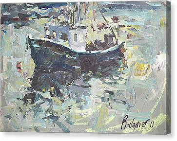 Canvas Print featuring the painting Original Lobster Boat Painting by Robert Joyner