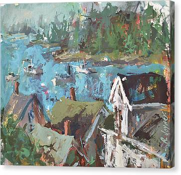 Original Modern Abstract Maine Landscape Painting Canvas Print by Robert Joyner