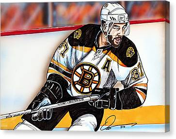 Patrice Bergeron Canvas Print by Dave Olsen