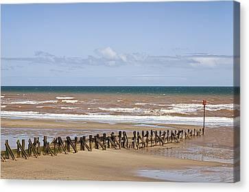 Pilings On Beach Canvas Print by Jon Boyes