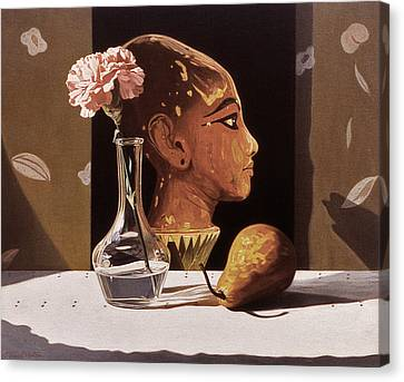 Pink Carnation And Egyptian Head Canvas Print by Daniel Montoya