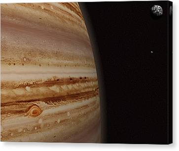Planet Jupiter And A Distant Moon Canvas Print by Jason Reed