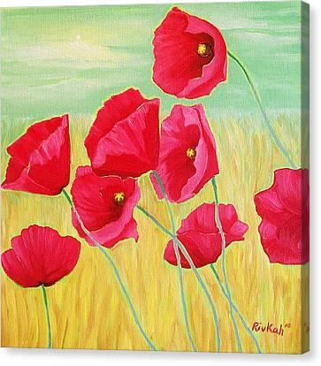 Pop Pop Poppies Canvas Print by Rivkah Singh