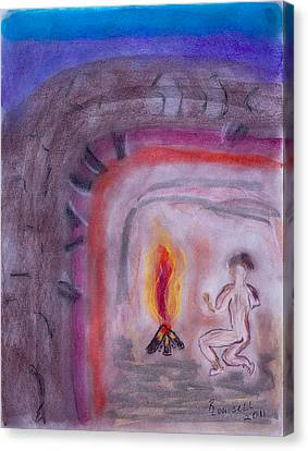 Primitive Man Fireside Canvas Print by Robyn Louisell