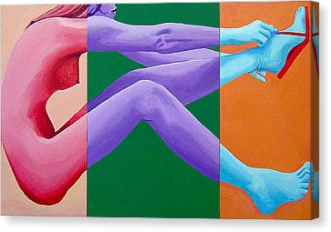 Putting On Shoes Triptych Canvas Print by Geoff Greene