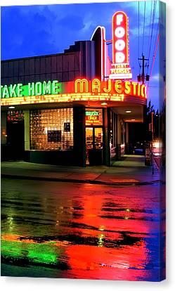 Atlanta Convention Canvas Print - Rainy Night At The Majestic Grill by Corky Willis Atlanta Photography