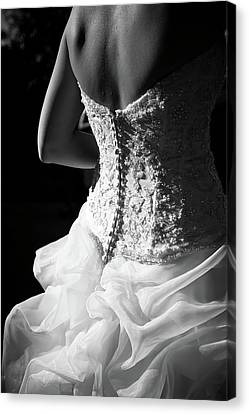 Wedding Dress Canvas Print - Rear View Of Bride by John B. Mueller Photography