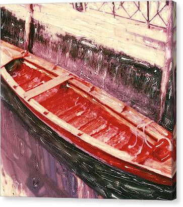 Red Canoe Canvas Print by Linda Scharck