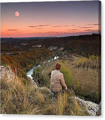 River And Moon Canvas Print by Evgeni Dinev