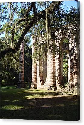 Ruins Of The Old Sheldon Church Canvas Print by Richard Marcus