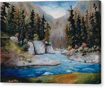 Canvas Print featuring the painting Rushing Waters by Brenda Thour