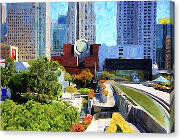 San Francisco Museum Of Modern Art Viewed Through Yerba Buena Gardens Canvas Print by Wingsdomain Art and Photography