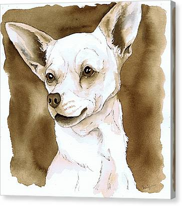 Sepia Tone Chihuahua Dog Canvas Print by Cherilynn Wood