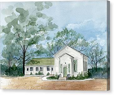 Sicklerville 1859 Church  Canvas Print by Nancy Patterson