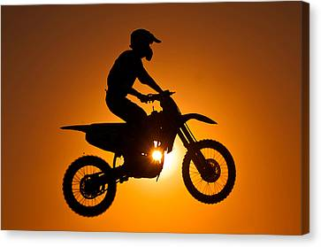 Silhouette Of Motocross At Sunset Canvas Print by Shahbaz Hussain's Photos
