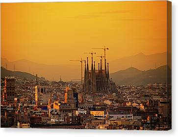 Silhouettes In Barcelona Canvas Print by Paul Biris