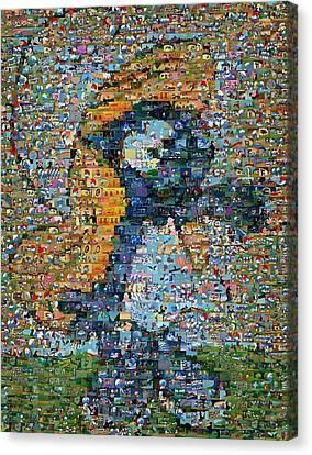 Smurfette The Smurfs Mosaic Canvas Print by Paul Van Scott