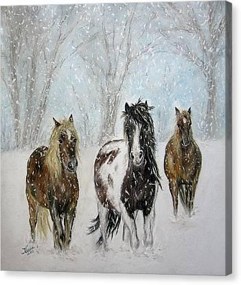 Equine Pastels Canvas Print - Snow Horses by Teresa Vecere