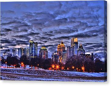 Atlanta Convention Canvas Print - Snowy City At Night by Corky Willis Atlanta Photography