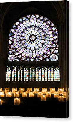 Stained Glass Window Of Notre Dame De Paris. France Canvas Print by Bernard Jaubert