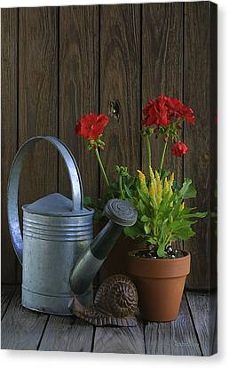 Canvas Print featuring the photograph Summer Geraniums by Dodie Ulery