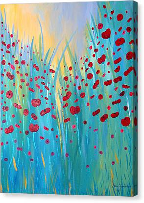Sunlit Poppies Canvas Print by Stacey Zimmerman