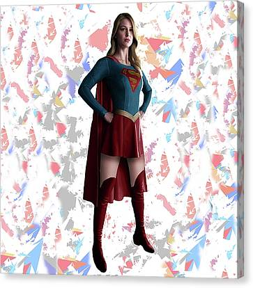 Supergirl Splash Super Hero Series Canvas Print