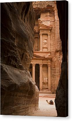 The Famous Treasury With A Camel Canvas Print by Taylor S. Kennedy