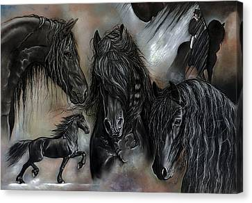 Horse Pastels Canvas Print - The Friesians In My Head by Caroline Collinson