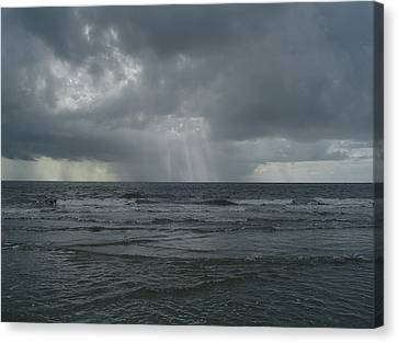 Thunderstorm Over The Ocean Canvas Print by Richard Marcus
