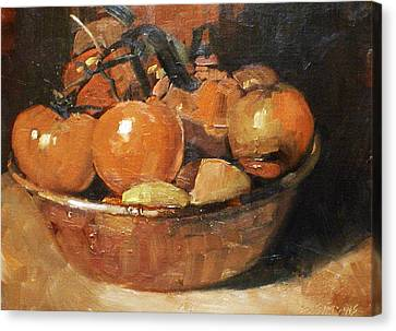 Tomatoes In A Copper Bowl Canvas Print by David Simons