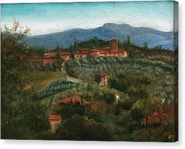 Tuscan Farm Canvas Print by Leah Wiedemer