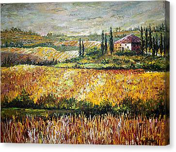 Canvas Print featuring the painting Tuscan Wheat by Lou Ann Bagnall