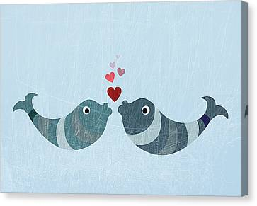 Two Fish Canvas Print - Two Fish Kissing by Jutta Kuss