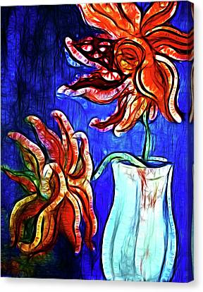 Two Flowers With Vase Canvas Print