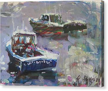Canvas Print featuring the painting Two Lobster Boats by Robert Joyner