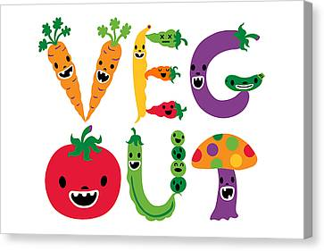 Veg Out - White Canvas Print by Andi Bird